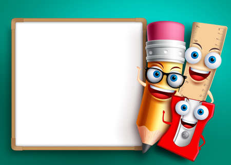 Back to school vector background template. Funny school characters and education items like whiteboard with empty blank space for text. Vector illustration.