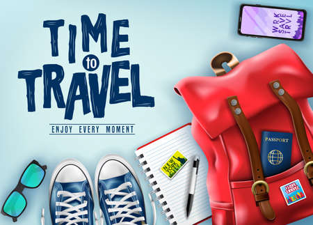 Top View Time to Travel 3D Realistic Banner with Travel Items Such as Red Backpack, Sunglasses, Mobile Phone, Passport and Pair of Shoes for Vacation in Blue Background. Vector Illustration 向量圖像