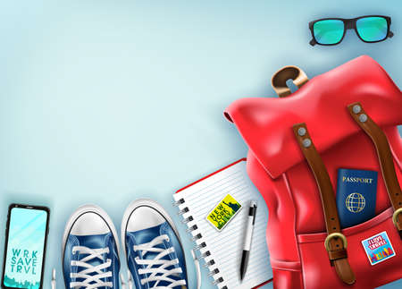 Top View Travel Banner Template with Space for Text Including Realistic 3D Items for Travelling Like Backpack, Sneakers, Mobile Phone, Passport and Sunglasses in Light Blue Background. Vector Illustration