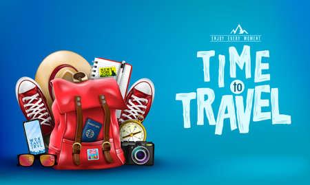 3D-realistische tijd om te reizen banner met items om te reizen zoals rugzak, rugzak, sneakers, kompas, mobiele telefoon, zonnebril, hoed, camera en notebook op blauwe achtergrond. Vector illustratie