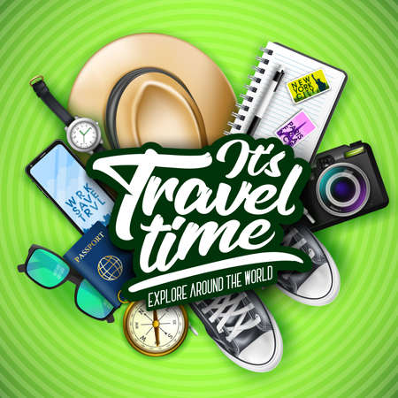 Its Travel Time Typography Message with 3D Realistic Items for Travelling Like Hat, Sunglasses, Sneakers, Passport, Watch, Camera, Compass and Mobile Phone in Green Patterned Background. Vector Illustration