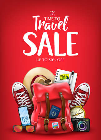 Time To Travel Sale Poster for Advertisement with Travelling 3D Realistic  Items Such as Hat, Camera, Sunglasses, Passport, Compass, Notepad, Pen, Mobile Phone and Pair of Sneakers in Red Background. Vector Illustration Illustration