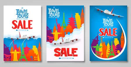 Modèle d'affiches promotionnelles de vente de voyages et de visites sertie d'icônes colorées de repère de renommée mondiale à des fins de publicité itinérante. Illustration vectorielle