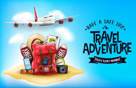 3D Realistic Travel Items Like Airplane, Backpack, Sneakers, Mobile Phone, Passport and Sunglasses in the Sand with Have A Safe Trip Travel Adventure Message Text in Blue Background Banner Design. Vector Illustration