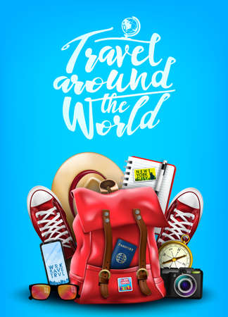 Travel Around the World Poster in Blue Background with 3D Realistic Items Such as Backpack, Sneakers, Hat, Notepad, Compass, Mobile Phone, Sunglasses and Camera. Vector Illustration