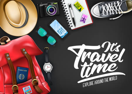 It's Travel Time Typography with Realistic Hat, Passport, Camera, Phone, Watch, Compass and Pair of Shoes  in Black Background Banner. Vector Illustration