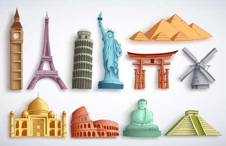 Conjunto de ilustración de vector de puntos de referencia de viaje. Famosos destinos mundiales y monumentos de diferentes atracciones de la ciudad para turistas y viajeros en fondo blanco. Ilustración de vector