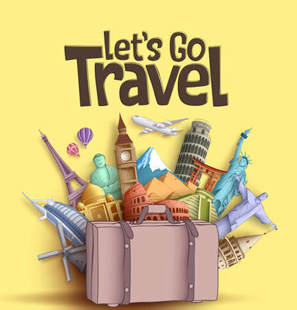 Let's go travel vector banner design with famous world tourism attractions and travel destinations elements in a traveling bag. Vector illustration in yellow background.