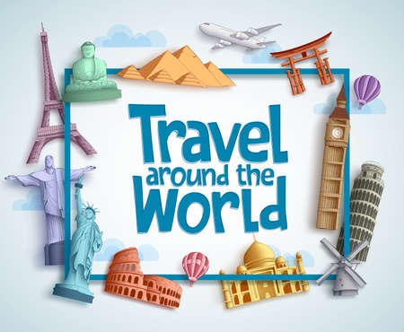 Travel around the world vector banner design with frame and famous landmarks and tourist destinations elements in white background. Vector illustration.