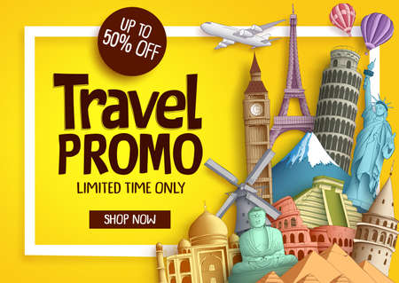 Travel promo vector banner template with discount text and famous tourist landmarks elements in a frame for travel and tour promotion.