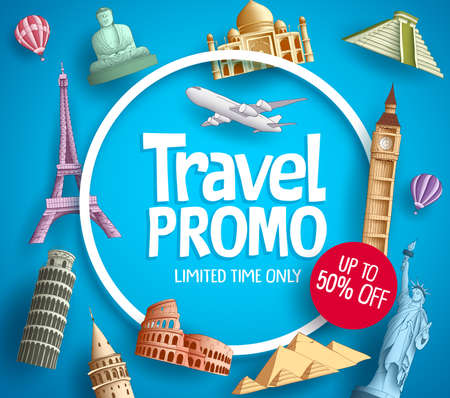 Conception de promotion de bannière de vecteur de promo de voyage avec des éléments de destinations touristiques et texte de réduction sur fond bleu pour le modèle d'agence de voyage.