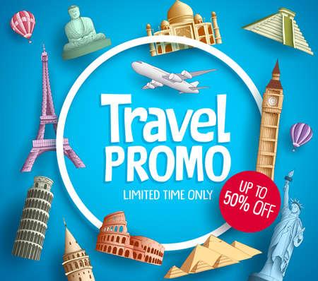 Reis promo vector banner promotie ontwerp met toeristische bestemmingen elementen en korting tekst op blauwe achtergrond voor reisbureau sjabloon.