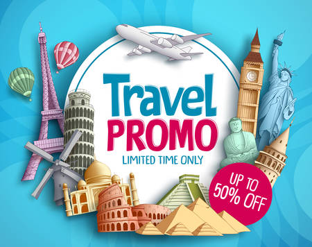 Travel promo vector banner design with world's famous tourist landmarks elements and white space for promotion text.