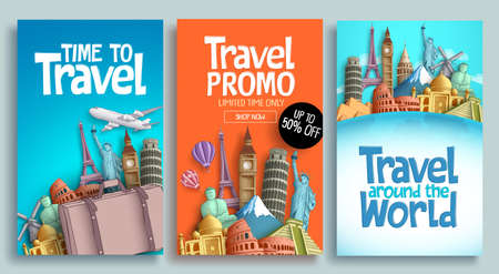 Travel poster set vector template design with promo text and world's famous landmarks and tourist destinations elements in colorful background.