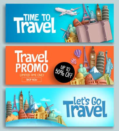 Podróżuj transparent wektor zestaw projektu szablonu z tekstem podróży i wycieczek oraz słynnymi na świecie zabytkami i elementami miejsc turystycznych w kolorowym tle. Ilustracje wektorowe