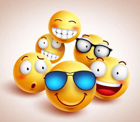 Smiley face emotikony wektor znaków z zabawną grupą fajnych przyjaciół żółtych emotikonów w różnych wyrazach twarzy. Ilustracja wektorowa.