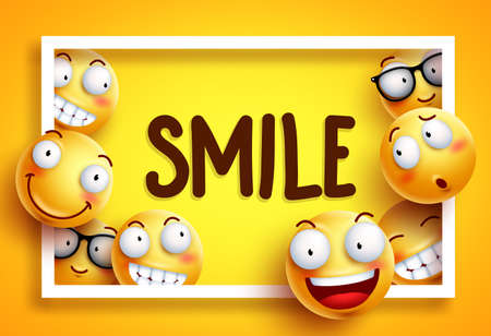 Smileys vector background with smile text and yellow funny smileys with happy and cheerful facial expressions in white frame background. Vector illustration.