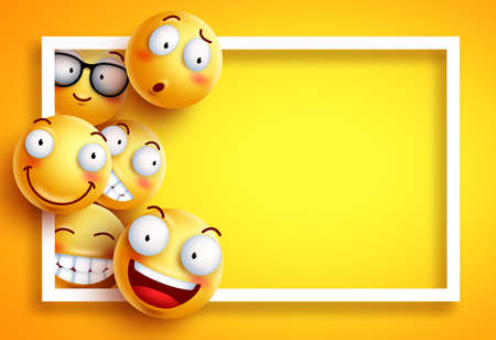 Smiley background vector template with yellow funny smileys or emoticons and empty blank space for text and white frame in yellow background. Vector illustration. Reklamní fotografie - 104594381