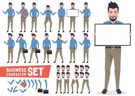Business characters vector set with professional businessman wearing office attire holding white board and have poses and gestures for presentation. Vector illustration.