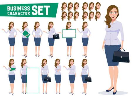 ビジネスウーマンキャラクターベクトルは、プロの若い女性オフィスの従業員が白い背景に異なるジェスチャーとポーズで立って設定します。ベクターの図。