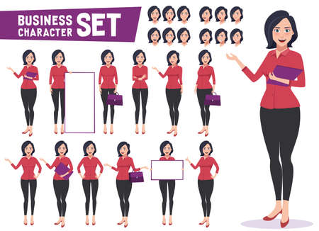 ビジネスウーマンキャラクターベクトルは、プロの若い女性の従業員や教師が異なるジェスチャーで立って、ビジネスプレゼンテーションのためのポーズを設定します。ベクターの図。