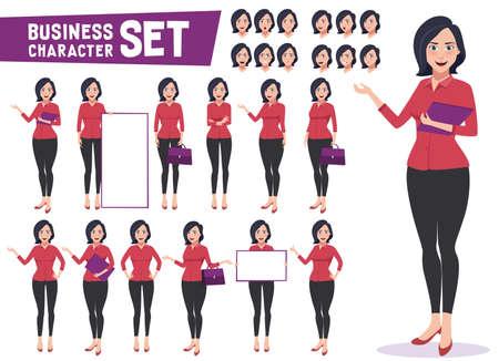 Vector de caracteres de mujer de negocios con empleada o maestra joven profesional de pie en diferentes gestos y posar para la presentación de negocios. Ilustración vectorial Ilustración de vector