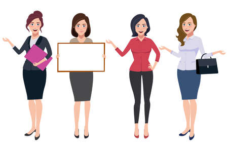 Businesswoman characters vector set with professional female office workers wearing business attire with different posture and gesture isolated in white. Vector illustration. Vektorové ilustrace