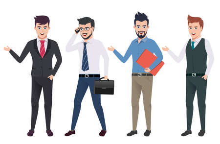 Business man vector characters set with professional male office and sales person wearing business attire in different gestures and postures. Vector illustration.
