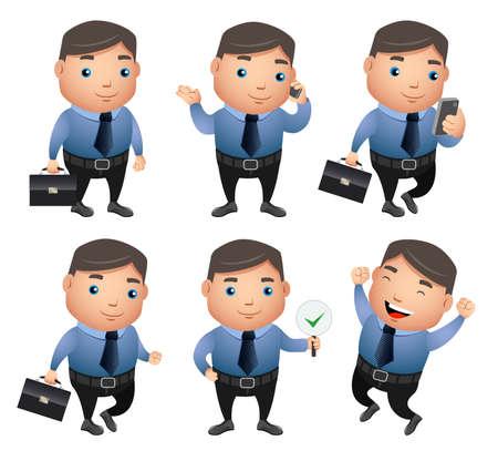 Vector de personajes de negocios con diferentes gestos y posturas vistiendo atuendo de oficina sosteniendo la bolsa y tomando el teléfono en fondo blanco. Ilustración vectorial Ilustración de vector