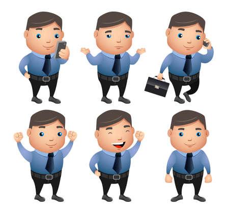 Carácter de vector de hombre de negocios con gestos y posturas haciendo trabajo de oficina con teléfono móvil y bolso aislado en fondo blanco. Ilustración vectorial