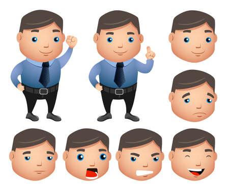 ●白い背景に隔離された表情を持つオフィス服装でぽっちゃり営業マンとセットされたビジネスキャラクターベクトル。ベクターの図。
