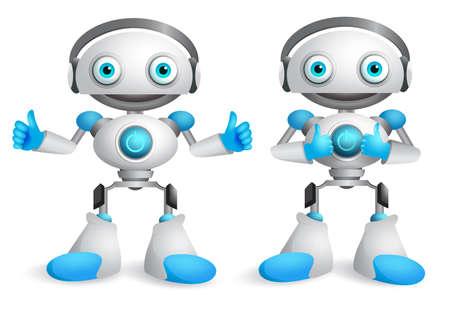 Robots vector character set. Funny mascot robot design element for presentation with okay hand gestures isolated in white. Vector illustration.