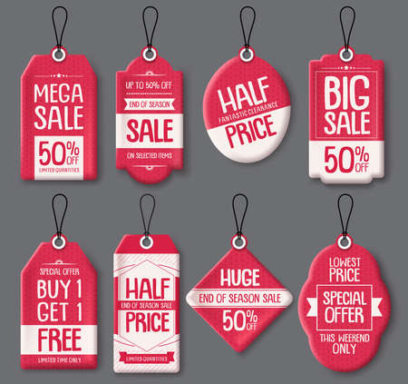 Sale tag templates vector set. Red paper price tags with big sale and discount text in different shapes for end of season store marketing promotions. Vector illustration. Ilustração