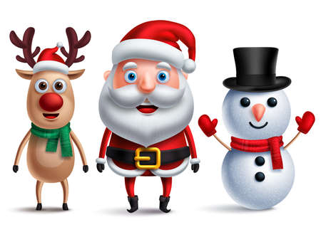 Santa claus vector character with snowman and rudolph the reindeer wearing christmas hats and scarf for christmas elements and design decoration. Vector illustration.