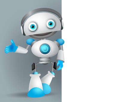 White robot vector character standing while speaking with while empty blank board for text and information for design presentation. Vector illustration.
