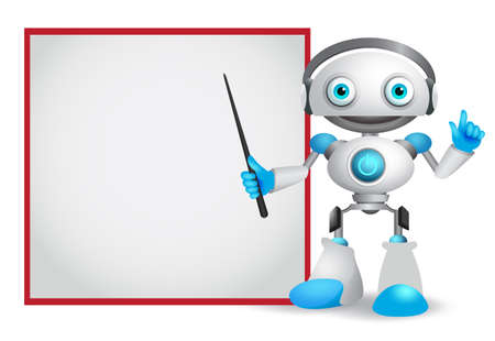 Robot character vector illustration with friendly gesture teaching or showing technology information for design presentation isolated in white background. Illustration