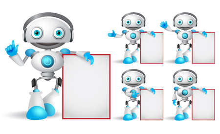 White robot vector character set standing while holding empty white board with different hand gestures for design presentation. Android mascot vector illustration. Illustration