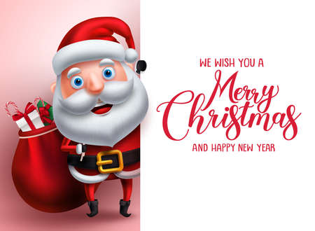 Merry christmas greeting template with santa claus vector character carrying gifts showing empty white space for christmas wish list in a background. Vector illustration. Illustration