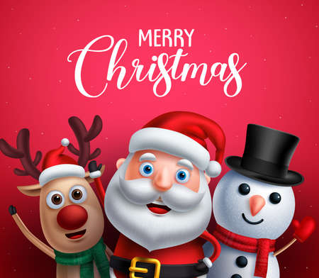 Merry christmas greeting text with santa claus, reindeer and snowman vector characters happy sing christmas carol in red background. Vector illustration. Иллюстрация
