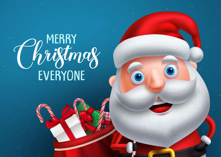 Santa claus vector character and merry christmas greeting in a blue background banner. Santa claus carrying bag of gifts while talking. Vector illustration. 向量圖像