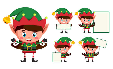 Elf christmas vector character set. Girl elves cartoon characters working and holding blank white board for christmas greeting isolated in white background. Vector illustration.