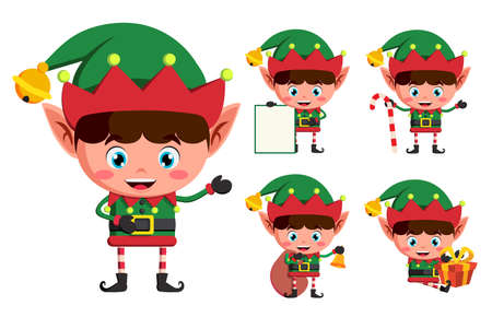 Christmas elves vector character set. Young boy elf cartoon characters holding christmas elements and objects isolated in white background. Vector illustration.