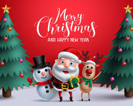 Christmas vector characters like santa claus, reindeer and snowman holding gift with merry christmas greeting and tree in a red background.