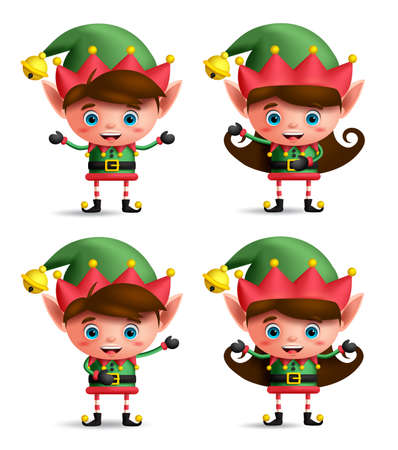 Christmas elves vector character set. Cute kids wearing green elf costume showing different posture and hand gestures isolated in white background. Vector illustration.