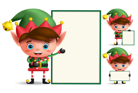 Boy christmas elf vector character set holding empty white board with space for text isolated in white background. Vector illustration.