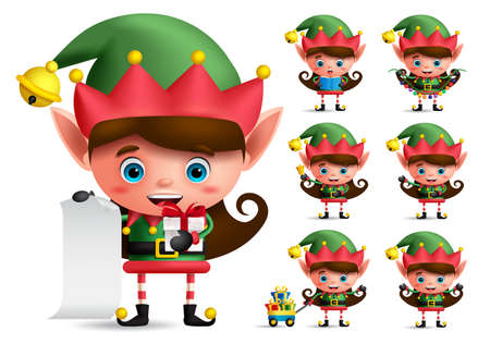 Christmas elf vector character set. Girl elves with green costume holding gifts and christmas elements while playing isolated in white background. Vector illustration.