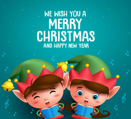 Christmas elves vector characters singing christmas carol in  blue background with greeting text. Vector illustration. Illustration