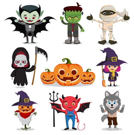 halloween vector characters set. Flat scary cartoon horror elements like witch, reaper, ghost, vampire and zombie isolated in white. Vector illustration. Illustration