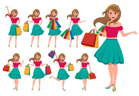 Shopping girl vector character set. Female shopper holding shopping bags with fashion clothes in different pose and gestures isolated in white. Vector illustration.