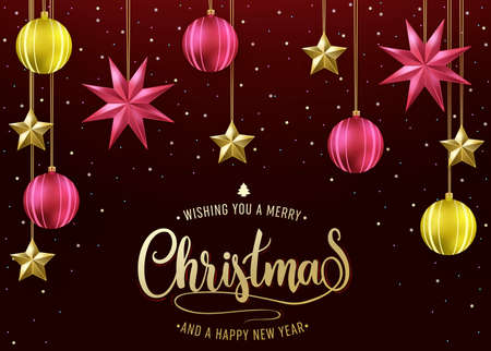 Simple Holiday Card with Wishing You A Merry Christmas and A Happy New Year Message in Dark Red Background with Hanging Christmas Balls and Stars. Vector Illustration